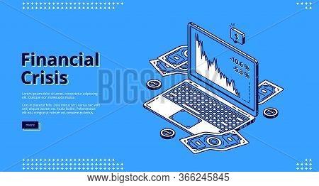 Financial Crisis Banner. Decline On Stock Market, Economy Crash. Vector Landing Page Of Finance Prob