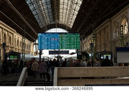 Budapest, Hungary - October  11, 2019: View Of Passengers Walking And Waiting Train Inside Budapest