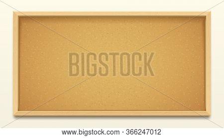 Cork Board Wood Frame Background, Pin Noticeboard