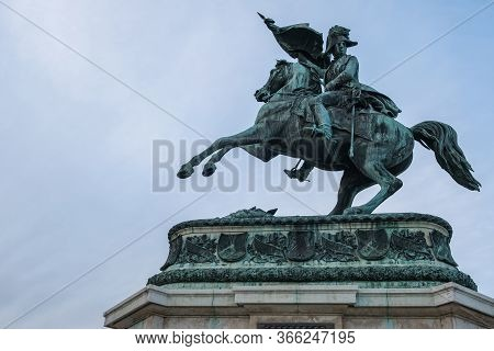 Vienna, Austria - October 10, 2019: Statue Of Prince Eugen In Front Of Hofburg Palace In Vienna, Aus