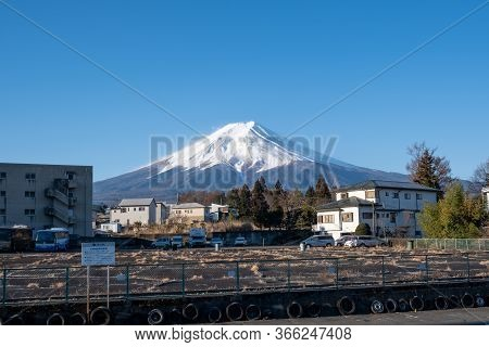 Yamanashi, Japan - March 24, 2019 : View Of Mount Fuji, Commonly Called Fuji San In Japanese, Mount