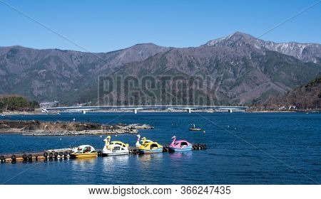 Yamanashi, Japan - March 24, 2019 : View Of Lake Kawaguchi, The Second Largest Of The Fuji Five Lake