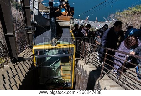 Yamanashi, Japan - March 24, 2019: View Of People Queuing At Mt. Fuji Panoramic Ropeway Station For