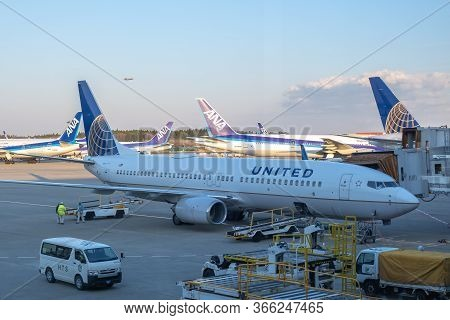 Chiba, Japan - March 24, 2019: View Of United Airlines Plane, A Major American Airline Headquartered