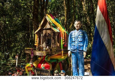 Chiangmai, Thailand - February 22, 2019: View Of The Shrine Of Chao Krom Kiathe, A Small Spirit Pavi