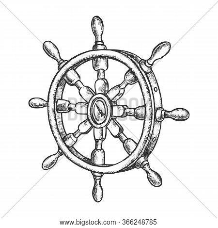 Sketch Of Vintage Ship Steering Wheel, Boat Rudder