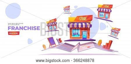 Franchise Banner. Expanding Sme Business Model Concept. Vector Landing Page Of Growth Brand Chain St
