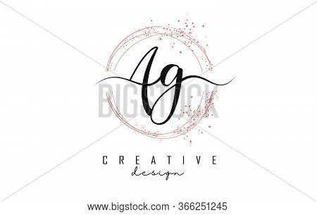 Handwritten Ag A G Letters Logo With Dust Pink Sparkling Circles And Glitter. Decorative Shiny Vecto