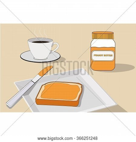 Peanut Paste On Bread. Sandwich, Peanut Jar On The Table With A Cup Of Coffee. Sandwich In A Plate W