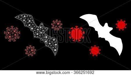 Bright Mesh Bat Virus With Glow Effect. Abstract Illuminated Model Based On Bat Virus Icon. Shiny Wi