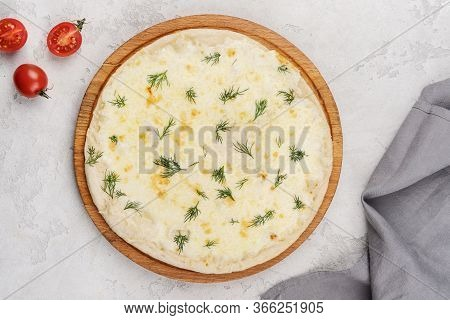 Classic Italian Cheese Pizza On A Wooden Board. Food Delivery.