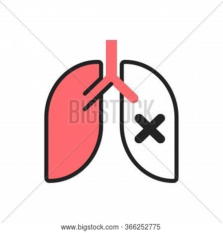 Pneumonia, Lung Disease, Pulmonary Insufficiency Flat Illustration