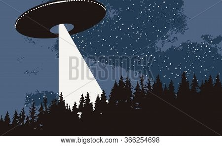 Vector Banner On The Theme Of Alien Invasion. Realistic Illustration Of An Ufo Flying Over The Fores