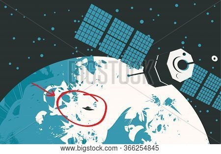 Vector Banner On The Theme Of Alien Invasion. Graphic Illustration With A Ufo And Satellite On The B
