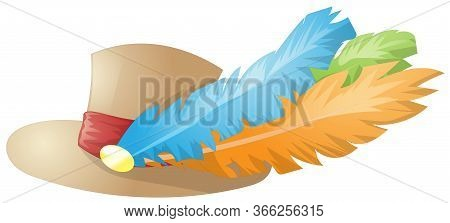 Vector 3d Hat With Feathers. Cartoon Brown Hat. Colorful 3d Feathers.