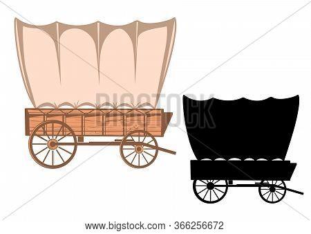 Wild West Wagon. Vector Western Color Illustration