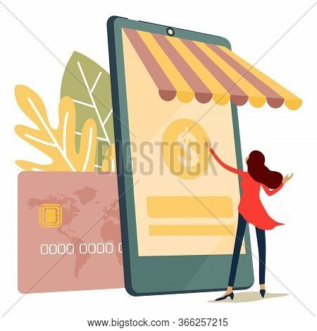 Mobile Tariff And Payment Concept With Money Symbol. Mobile Banking, E Banking App. Digital Wallet,