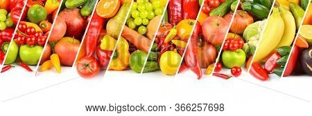 Bright vegetables, fruits and berries separated by sloping lines isolated on white background.