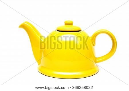 Ceramic Yellow Teapot On A White Background. Isolate. Place For An Inscription. Vintage Teapot.tea I