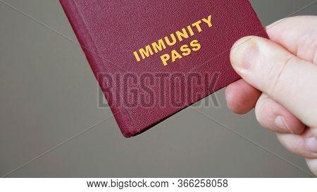 Immunity Pass Or Passport - Close-up Hand Holding Mock-up European Immune Certificate Travel Documen