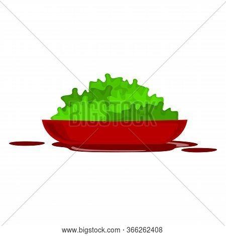Vegetable Green Salads In Glass Bowl. Vector Flat Cartoon Illustration. Healthy Cooking Vegetarian R