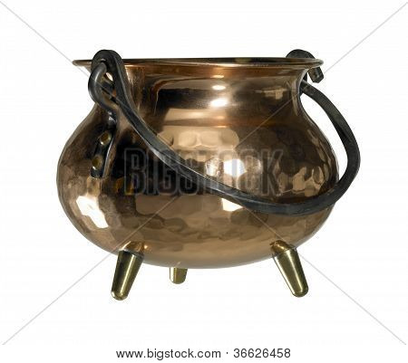 studio photography of a cauldron made of copper isolated on white with clipping path poster