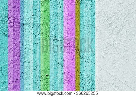 Stucco Painted With Colorful Stripes. Creative Background For All Kinds Of Design.