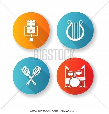 Band Musical Instruments Flat Design Long Shadow Glyph Icons Set. Vintage Microphone. Greek Lyra. Cr