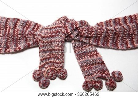 A Scarf With Round Pom-poms Made Of Pink And Purple Woolen Threads Of Melange Color Is Tied In A Kno