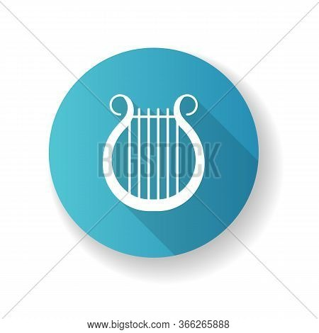 Lyra Blue Flat Design Long Shadow Glyph Icon. Classical Music. Orchestra String Musical Instrument.