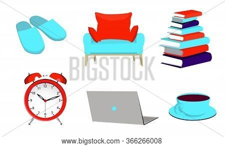 Slippers, Alarm Clock, Chair, Laptop. Household Items. Home Comfort. Work From Home. Freelance. Vect