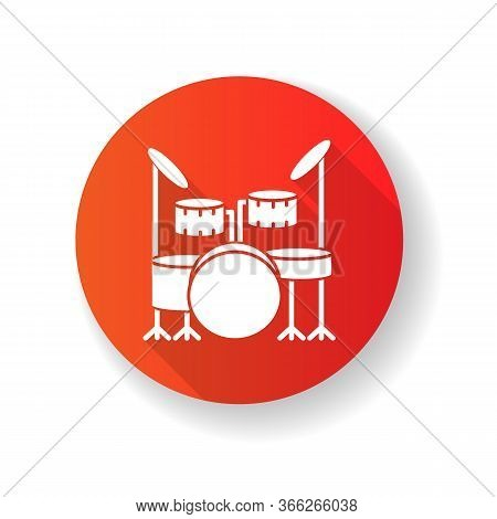 Drum Kit Red Flat Design Long Shadow Glyph Icon. Musical Instrument On Stage For Live Band Performan