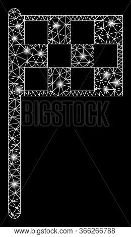 Bright Mesh Final Flag With Glow Effect. Abstract Illuminated Model Of Final Flag Icon. Shiny Wire F