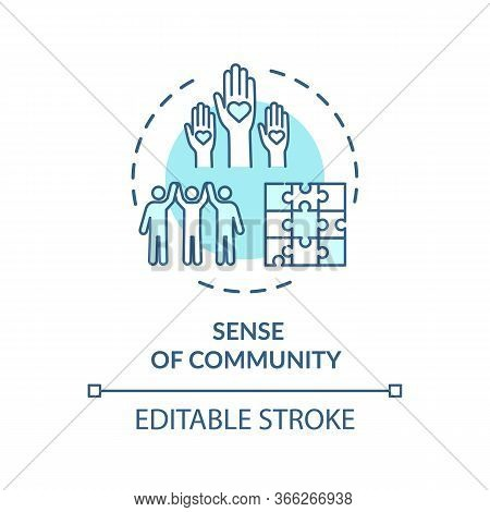 Sense Of Community Turquoise Concept Icon. Diverse People. Society Support. Multicultural Group Unit