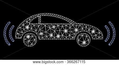 Bright Mesh Autonomous Car With Glare Effect. Abstract Illuminated Model Of Autonomous Car Icon. Shi