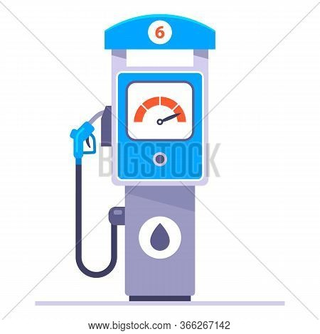 Separate Gas Station On A White Background. Refuel The Car With Gasoline. Flat Vector Illustration.