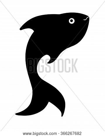 Fish Silhouette. Black Vector Silhouette Of Fish For Logo Or Icon. Fish Silhouette For Corporate Ide