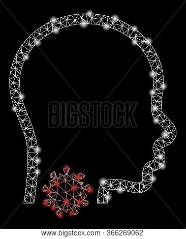 Bright Mesh Sore Throat With Glow Effect. Abstract Illuminated Model Of Sore Throat Icon. Shiny Wire