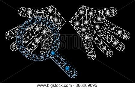 Bright Mesh Hands Tranparency With Glow Effect. Abstract Illuminated Model Of Hands Tranparency Icon
