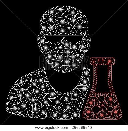 Bright Mesh Scientist With Flask With Glare Effect. Abstract Illuminated Model Of Scientist With Fla