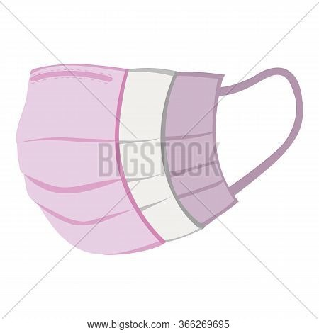 Multi-layer Surgical Protective Pink Mask. Virus Protection Concept Vector Graphic. Pink Medical Fac