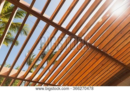 Wooden Sunshade Roof Structure Under Blue Sky At Sunny Summer Day, Palm Trees Are On A Background