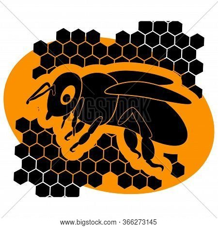 Honey Bee. Honeycomb Bee Logo. Honey Logo With A Bee And Honeycomb In Black Color Isolated On Orange