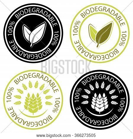 Biodegradable Icons. Collection Of Round Stamps With Lettering  Biodegradable And Leaves Inside. Rou