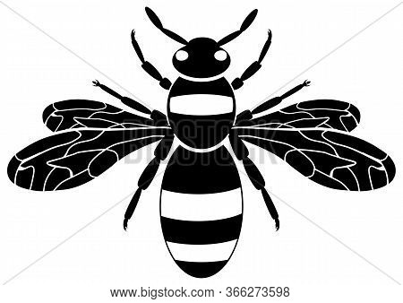 Bee Icon. Insect Wasp, Black Wasp Silhouette. A Stinging Insect. Flat Design. Vector