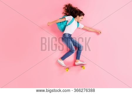 Top View Above High Angle Flat Lay Flatlay Lie Concept Full Length Body Size View Of Nice Cheerful C