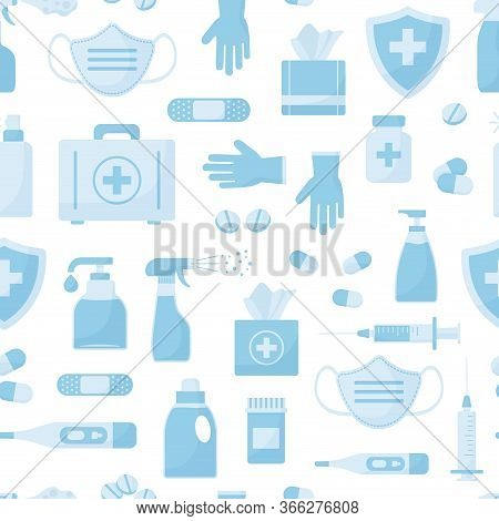 Medicine Seamless Pattern, Blue Objects Isolated On White Background. Vector Illustration