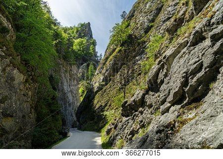 Curvy Road Between Steep Rocks Of Maninska Tiesnava Gorge In Strazovske Vrchy Mountains, Slovakia. S