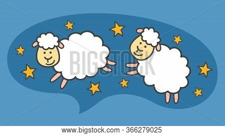 White Little Cartoon Sheeps Ar Lambs Are Flying In The Blue Night Sky. Allegory Of Sleeping And Swee