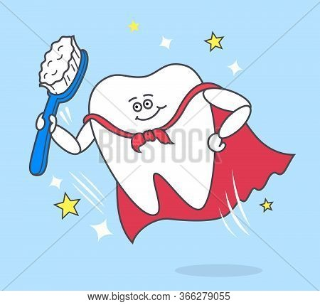 Cartoon Tooth With Toothbrush Wearing A Red Cloak. Super Power Of Brushing Teeth. Stomatology Concep